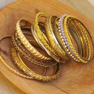 18! Chunky Heavy Gold-Tone Bangle Bracelet Bundle